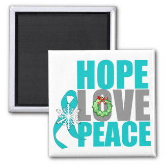 Christmas Holiday Hope Love Peace Ovarian Cancer 2 Inch Square Magnet