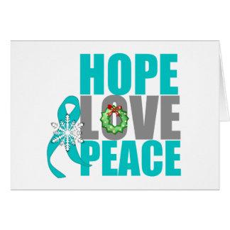 Christmas Holiday Hope Love Peace Ovarian Cancer Greeting Card
