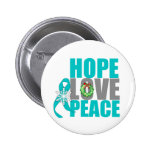 Christmas Holiday Hope Love Peace Ovarian Cancer Pinback Button