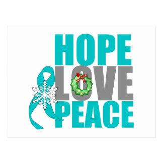 Christmas Holiday Hope Love Peace Ovarian Cancer Postcard