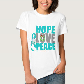 Christmas Holiday Hope Love Peace Ovarian Cancer Tshirt
