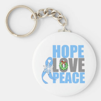 Christmas Holiday Hope Love Peace Prostate Cancer Keychains