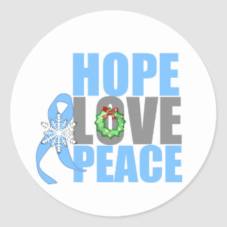 Christmas Holiday Hope Love Peace Prostate Cancer Stickers