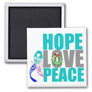 Christmas Holiday Hope Love Peace Thyroid Cancer 2 Inch Square Magnet