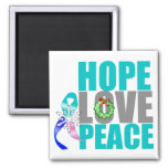 Christmas Holiday Hope Love Peace Thyroid Cancer Refrigerator Magnet