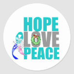 Christmas Holiday Hope Love Peace Thyroid Cancer Round Stickers