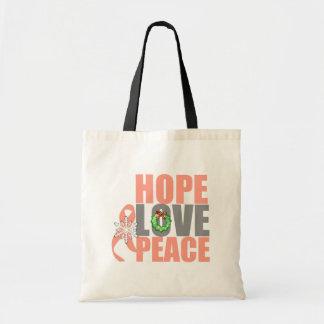 Christmas Holiday Hope Love Peace Uterine Cancer Canvas Bag