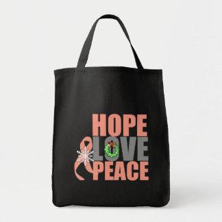 Christmas Holiday Hope Love Peace Uterine Cancer Canvas Bags
