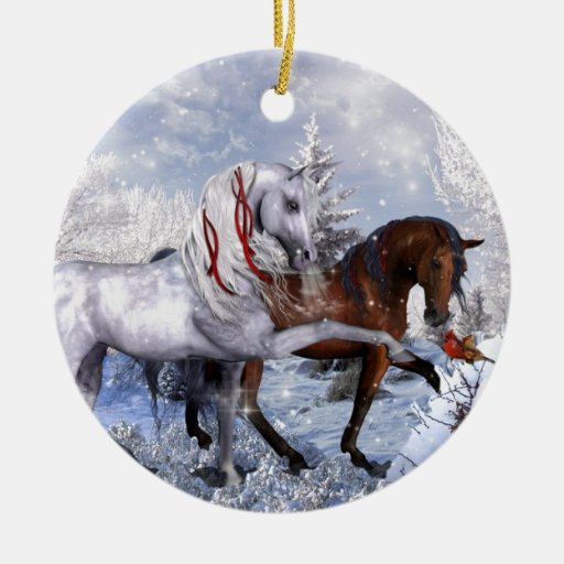 Christmas Holiday Horses Ornament