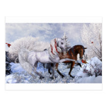 Christmas Holiday Horses Postcard