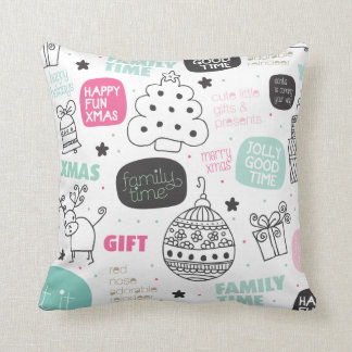 Christmas holiday illustration trendy interior pillow