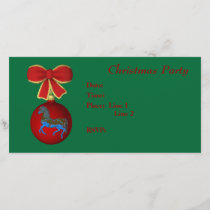 Christmas Holiday Invitation Carousel Horse Bow