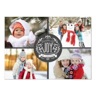 CHRISTMAS HOLIDAY JOY CHALK ART 4-PHOTO GREETING CARD