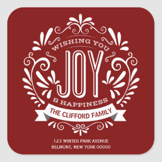 CHRISTMAS HOLIDAY JOY CHALKBOARD ADDRESS STICKERS
