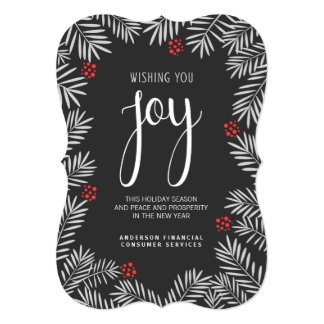 Christmas Holiday Joy Chalkboard Pine Branch 5x7 Paper Invitation Card