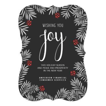 Professional Business Christmas Holiday Joy Chalkboard Pine Branch Card