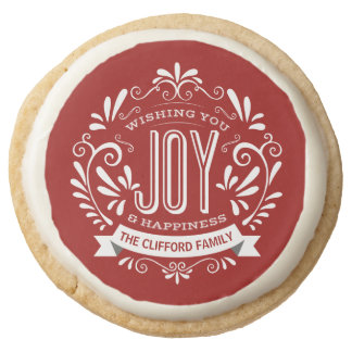 CHRISTMAS HOLIDAY JOY CHALKBOARD WITH BANNER ROUND PREMIUM SHORTBREAD COOKIE