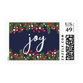 Christmas Holiday Joy Pine Bough & Red Berries Postage