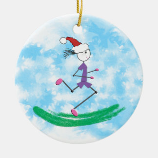 Christmas Holiday Lady Runner Double-Sided Ceramic Round Christmas Ornament