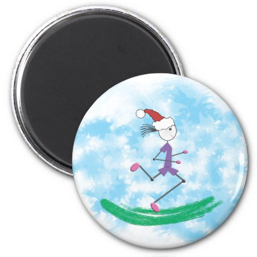Christmas Holiday Lady Runner Magnet