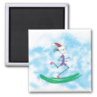 Christmas Holiday Lady Runner Magnet Magnet
