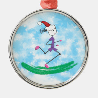 Christmas Holiday Lady Runner © Running Metal Ornament