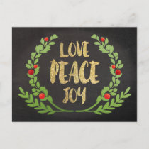 CHRISTMAS HOLIDAY LOVE PEACE JOY WREATH POSTCARD