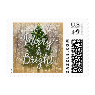 Christmas Holiday Merry & Bright Postage at Zazzle
