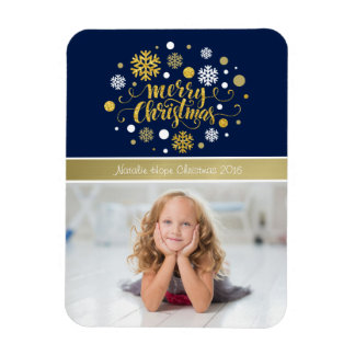 Christmas Holiday - Merry Christmas Shimmer Blue Magnet