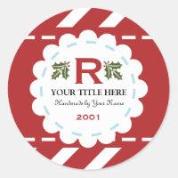Christmas Holiday Monogram Classic Round Sticker