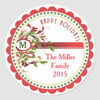 Christmas Holiday Monogram Gift Stickers Labels