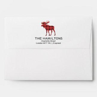 Christmas Holiday Moose Red Plaid Tartan Pattern Envelope