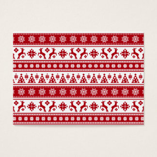Christmas Holiday Nordic Pattern Cozy Business Card