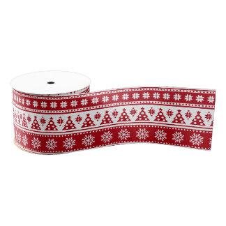 Christmas Holiday Nordic Pattern Cozy Grosgrain Ribbon