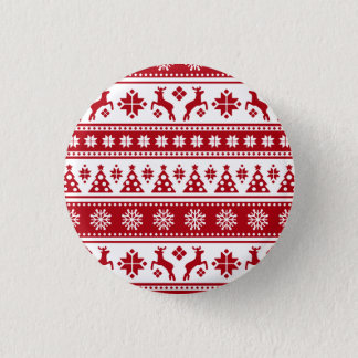 Christmas Holiday Nordic Pattern Cozy Pinback Button