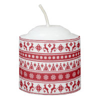 Christmas Holiday Nordic Pattern Cozy Votive Candle