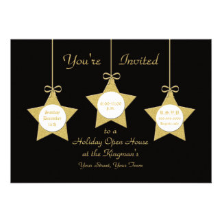 Christmas Holiday Open House Invitations Stars
