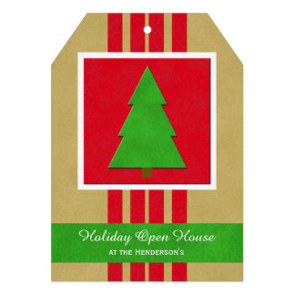 Christmas Holiday Open House Tree Invitation Card
