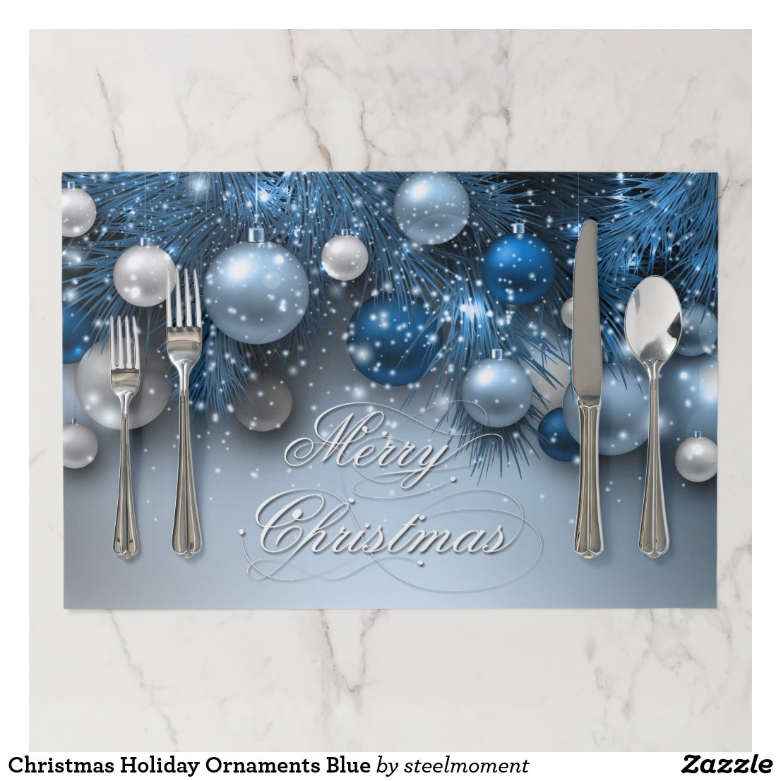 Christmas Holiday Ornaments Blue Placemat