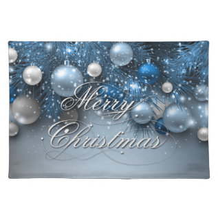 Christmas Holiday Ornaments - Blues Placemat at Zazzle
