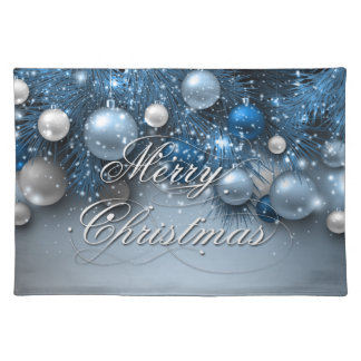 Christmas Holiday Ornaments - Blues Placemat