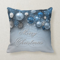 Christmas Holiday Ornaments - Blues Throw Pillow