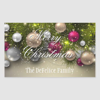 Christmas Holiday Ornaments Multi Color Rectangular Sticker