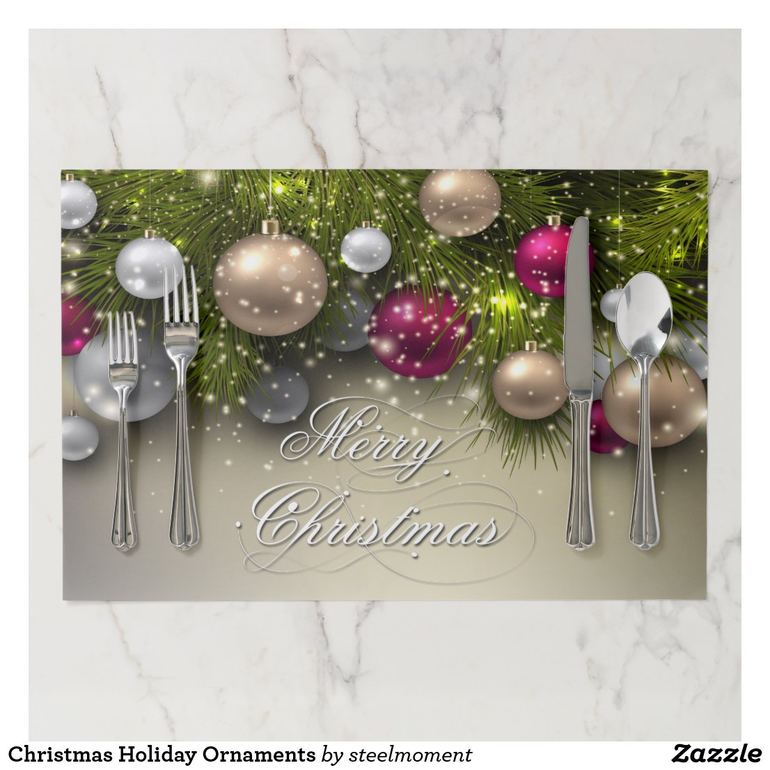Christmas Holiday Ornaments Paper Placemat