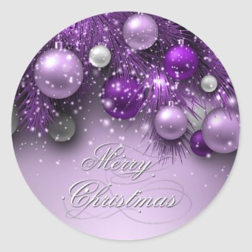 Christmas Themed Christmas Holiday Ornaments - Purples Classic Round Sticker