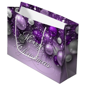Christmas Themed Christmas Holiday Ornaments - Purples Large Gift Bag