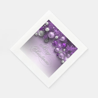 Christmas Holiday Ornaments - Purples Napkin