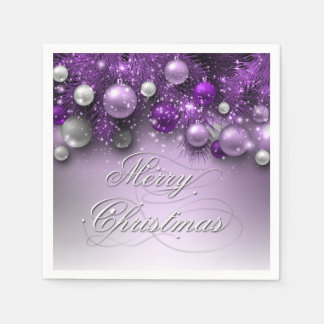 Christmas Holiday Ornaments - Purples Paper Napkin