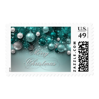 Christmas Holiday Ornaments - Teal - Customize Postage