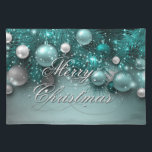 """Christmas Holiday Ornaments - Teal Placemat<br><div class=""""desc"""">Christmas Holiday Ornaments - Teal Placemat Cloth - Customize!</div>"""